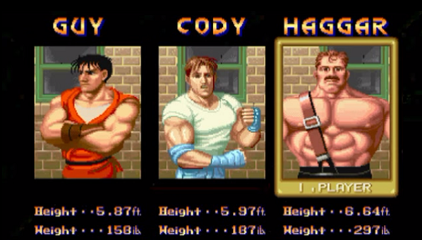 Final Fight Select Screen