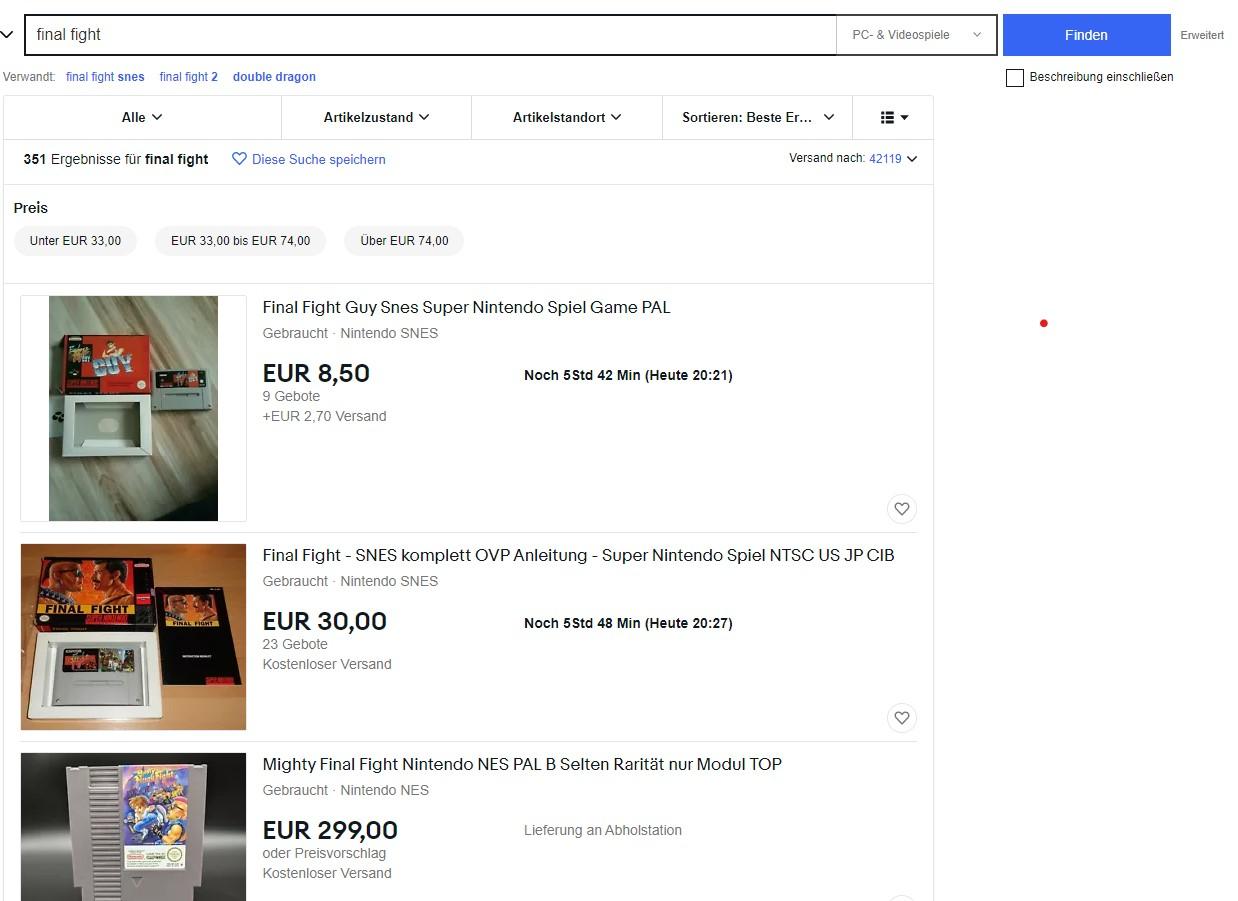 Final Fight Artikel auf eBay